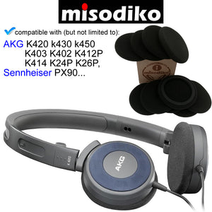 misodiko Replacement Foam Ear Pads Cushion Kit - for AKG K420 k430 k450 K403 K402 K412P K414 K24P K26P/ Sennheiser PX 90, Headphones Repair Parts Earmuff Earpads Cup Pillow Cover (5-Pairs)