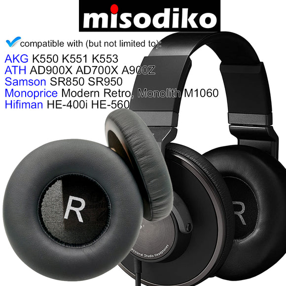 misodiko Round 110mm Replacement Cushions Ear Pads for AKG K550 K551 K553 MKII MK2/ Monoprice Modern Retro, Monolith M1060/ ATH AD1000X AD900X AD700X A700X A900X A990Z/ Samson SR850 SR950/ Hifiman HE-400i HE-560/ MDR-MA900, Headphones Repair Parts Earpads