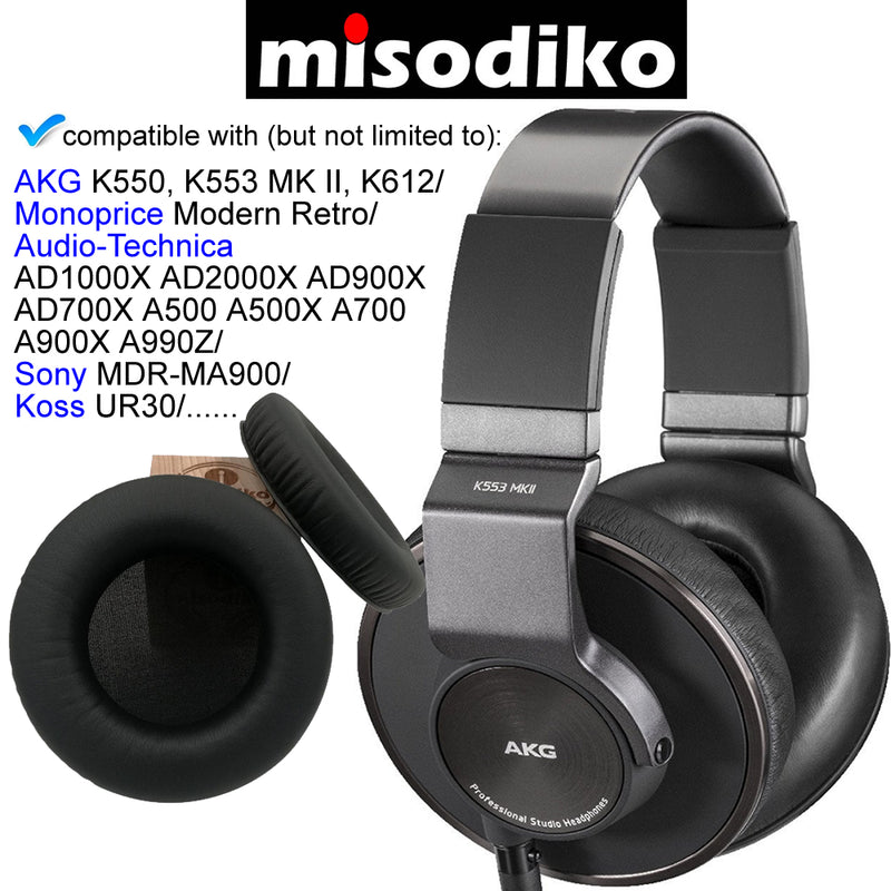 misodiko Round Shape 110mm Replacement Cushions Ear Pads - for AKG K550, K551, K553 MK II, K612/ Monoprice Modern Retro/ Audio-Technica ATH- AD1000X AD2000X AD900X AD700X A500X A700 A900X A990Z/ Koss UR30/ Sony MDR-MA900 - Headphones Repair Parts Earpads