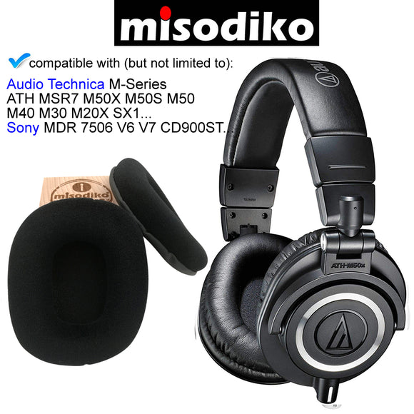 misodiko Replacement Velour Cushions Ear Pads - for Audio Technica M-Series, ATH - MSR7 - M50x - M40x - M30x - M70x/ Sony MDR 7506 - V6 - V7 - CD900ST Headphones, Repair Parts Earmuff Earpads Cup Pillow Cover