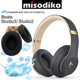 misodiko [Upgraded Cooling Gel] Replacement Cushions Ear Pads - for Beats Studio Wired B0500 / Wireless B0501 / Studio 2.0 and Studio 3 Over Ear Headphones | Repair Parts Earmuff Earpads Cup Pillow Cover