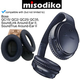 misodiko Replacement Cushions Ear Pads - for QuietComfort 15/ 2/ 25/ 35, QC15/ QC2/ QC25/ QC35, SoundTrue/ SoundLink Around-Ear II AE2 AE2i AE2w, Headphones Repair Parts Earmuff Earpads Cup Pillow Cover