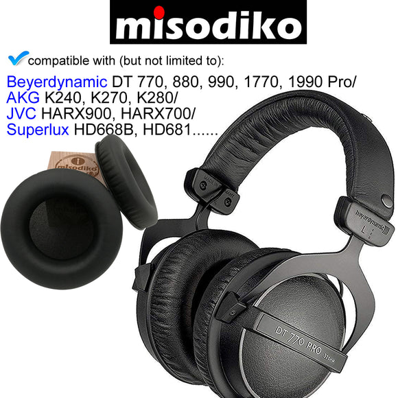 misodiko Replacement Ear Pads Cushion Kit - for Beyerdynamic DT 770, 880, 990, 1770, 1990 Pro/ AKG K240, K270, K280/ JVC HARX900, HARX700/ Superlux HD668B, HD681 | Headphones Repair Parts Earpads with Memory Foam