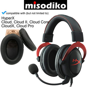 misodiko Replacement Cushions Ear Pads - for HyperX Cloud, Cloud II, Cloud Core, CloudX, Cloud Pro Gaming Headset | Headphones Repair Parts Earmuff Earpads Cup Pillow Cover