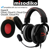 misodiko Replacement Velour Cushions Ear Pads - for HyperX Cloud, Cloud II, Cloud Core, CloudX, Cloud Pro Gaming Headset | Headphones Repair Parts Earmuff Earpads Cup Pillow Cover