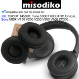 misodiko Replacement Round-70mm Cushions Ear Pads - for JBL T500BT T450BT, Tune 500BT 600BTNC On-Ear/ Sony MDR-V150 V200 V250 V300 V400 ZX300, Headphones Repair Parts Earmuff Earpads Cup Pillow Cover