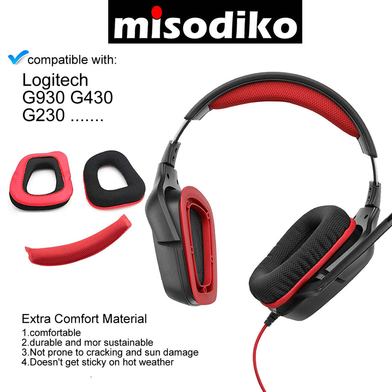 misodiko Replacement Ear Cushions and Headband Pads - for Logitech G930 G430 G230 Wired/ Wireless Gaming Headset, Headphones Repair Parts Earmuff Earpads Cup Pillow Cover Headbands