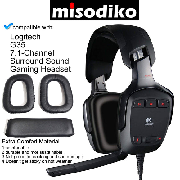 misodiko Replacement Ear Cushions and Headband Pads - for Logitech G35 Gaming Headset, Headphones Repair Parts Earmuff Earpads Cup Pillow Cover Headbands