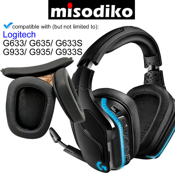 misodiko Replacement Ear Pads Cushion and Headband Kit for Logitech G633 G933 G635 G935 G633S G933S Gaming Headset, Headphones Repair Parts Earpads with Headband (Black Protein Leather)