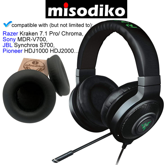 misodiko Replacement Ear Pads Cushion Kit - for Razer Kraken 7.1 Pro/ Chroma, Sony MDR-V700, JBL Synchros S700, Pioneer HDJ1000 HDJ2000 | Headphones Repair Parts Earpads