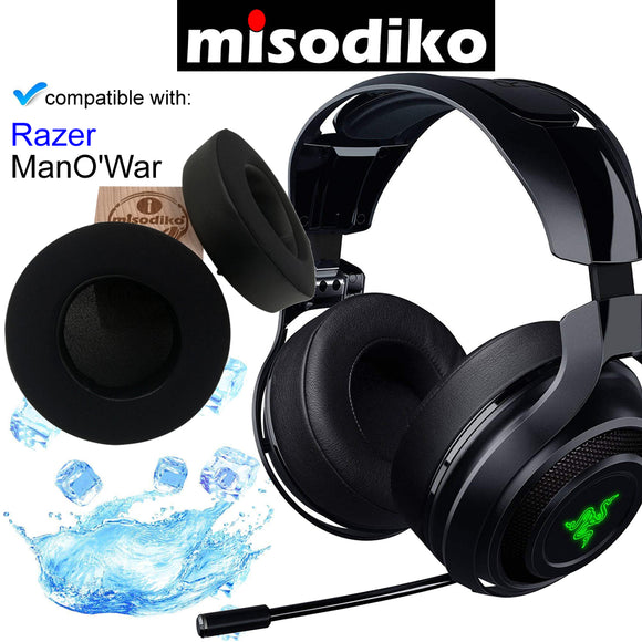 misodiko Replacement [Memory Foam with Cooling Gel] Ear Pads Cushions for Gaming Headset - Razer ManO'War 7.1 Wireless / Wired, Headphones Repair Parts Earpads