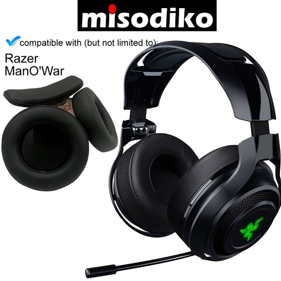 misodiko Replacement Ear Pads Cushions & Headband Kit for Gaming Headset - Razer ManO'War 7.1 Wireless / Wired | Headphones Repair Parts Earpads with Head Band