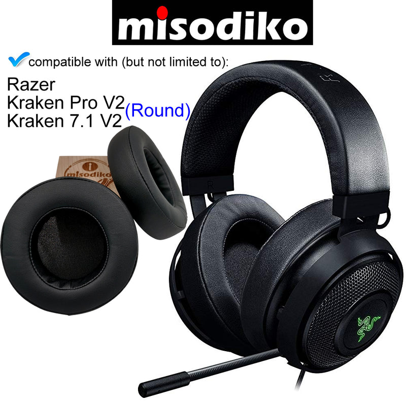 misodiko Replacement Round Ear Pads Cushion Kit for - Razer Kraken Pro V2, Kraken 7.1 V2 Gaming Headset, Headphones Repair Parts Round Earpads