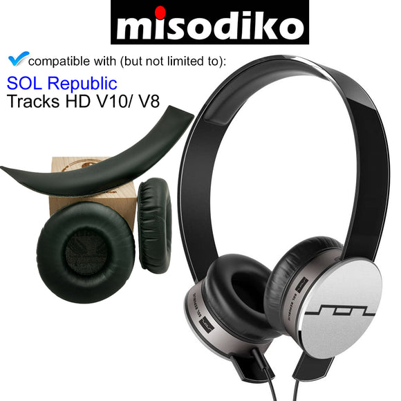 misodiko Replacement Ear Pads Cushions with Headband Kit - for SOL Republic Tracks HD V10/ V8 On-Ear Headphones, Repair Parts Earmuff Earpads Cup Pillow Cover