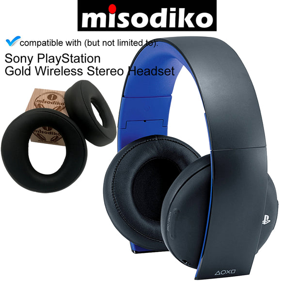 misodiko Replacement Cushions Ear Pads - for Sony PlayStation Gold Wireless Stereo Headset CECHYA-0083 | Headphones Repair Parts Earmuff Earpads Cup Pillow Cover