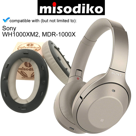 misodiko Replacement Ear Pads Cushion with Clip Ring and Tuning Tone Cotton - for Sony WH1000XM2, MDR-1000X | Headphones Repair Parts Earpads Ear Cups