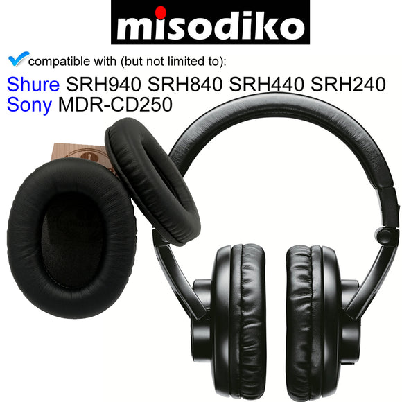 misodiko Replacement Cushions Ear Pads - for Sony MDR-CD250, Shure HPAEC840 SRH840 SRH440 SRH940, Headphones Repair Parts Earmuff Earpads Cup Pillow Cover