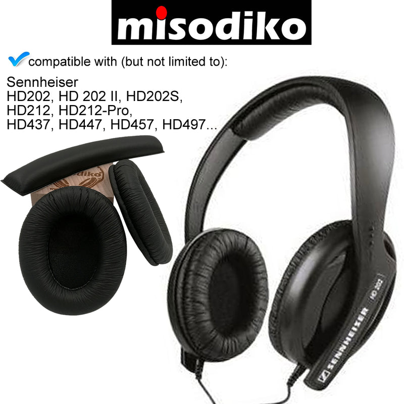 misodiko Replacement Headband + Ear Pads Cushion Kit - for HD202, HD 202 II, HD202S, HD212, HD212-Pro, HD437, HD447, HD457, HD497 | Headphones Repair Parts Earpads with Headband
