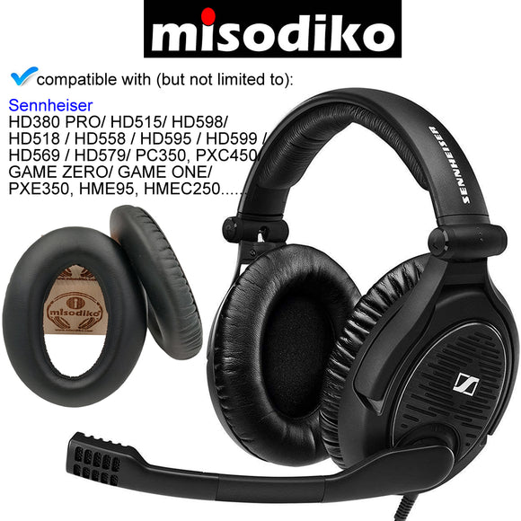 misodiko Replacement Cushions Ear Pads- for Sennheiser HD598/ HD515/ HD518/ HD595/ HD380PRO/ HD 380 PRO/ PC350/ PXC450/ PXC350/ Game One/ Game Zero/ PXE350/ HME95/ HMEC250/ HD599 / HD569 / HD579/ PXE350, Headphones Repair Earpads