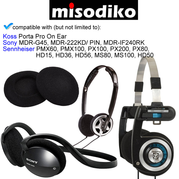 Replacement 2 Inch Foam Cushions Ear Pads - for Koss Porta Pro, Sony MDR-G45 MDR-222KD/ PIN MDR-IF240RK, Sennheiser PX100 PX200 PX80, Headphones Repair Parts Earmuff Earpads Cup Pillow Cover (5-Pairs)