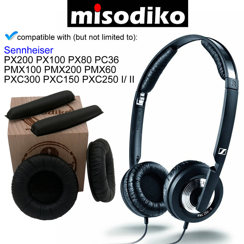misodiko Replacement Headband and Ear Pads Cushion Kit - for Sennheiser PX200/ PX100/ PX80/ PMX100/ PMX200/ PMX60/ PXC300/ PXC250/ PXC250-II/ PXC150/ PC36 | Headphones Repair Parts Earpads with Head Band