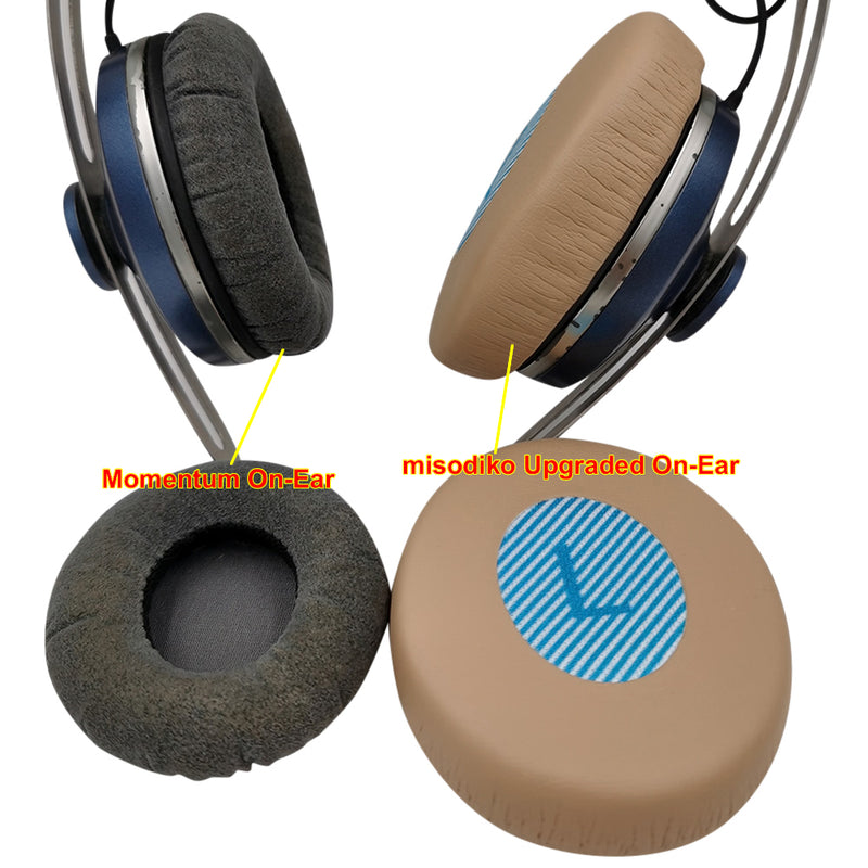 misodiko [Upgraded On-Ear] Headphones Ear Pads Cushions Replacement for Sennheiser Momentum 2.0/ 1.0/ HD1 On-Ear HD2.20s, HD2.30i, HD2.30G, HD100, HD2.01, HD2.20, Bose OE2 OE2i SoundLink SoundTrue On-Ear