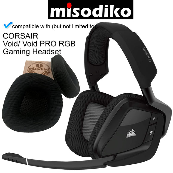 misodiko Replacement Memory Foam & Mesh Fabric Ear Cushion Pads Cover for Corsair Void & Corsair Void PRO RGB Wireless/ USB Gaming Headset | Headphones Repair Parts Earmuff Earpads Cup Pillow Cover
