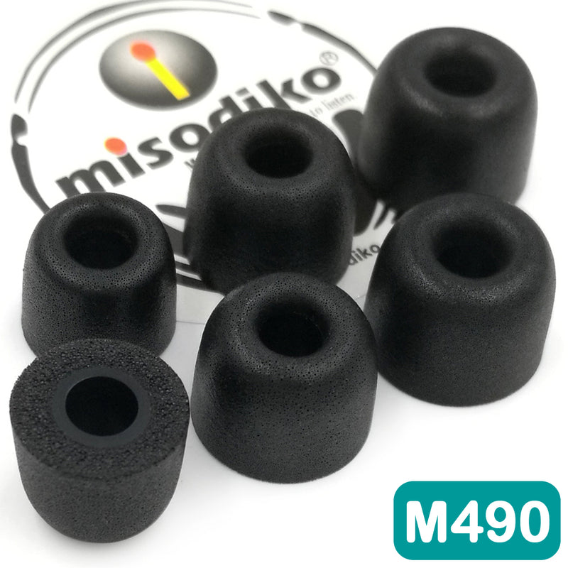 misodiko M490 Memory Foam Earbuds Tips - for Jaybird X4 X3 X2 Freedom/ Sennheiser CX200 CX 300 II 275 475 IE60 MM30i / DUNU DN-2000/ ATH-IM70/ LG HBS-820 A100/ Skullcandy Ink'd Method Wireless/ Powerbeats - Replacement Earphones Eartips (3-Pairs)
