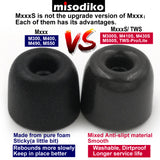 misodiko M430S Memory Foam Earbuds Tips - for RHA MA390 MA600 MA650 MA750 T10i T20i/ Denon AH-W150/ B&O Beoplay H3 H5 E4 E6/ SONY MDR XBA MDR-EX MDR-NC Series /Jaybird Freedom 2/ Beats X, Tour- Replacement In-Ear Headphoes Eartips (3-Pairs)