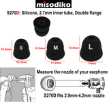 misodiko S270D Silicone Earbuds Tips - for Shure SE215 SE315 SE535 SE425 SE846 SE110 SE112/ Etymotic Research ER4 ER3 XR SE, MC3 MC5, HF2 HF3 HF5/ Klipsch In-Ear R5 R6 R6i R6m S4i X6i X20i XR8i/ Westone AM UM Pro - Replacement Earphones Eartips (3-Pairs)