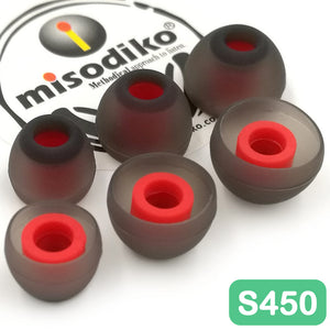 misodiko S450 Silicone Earbuds Tips - for Sennheiser CX 200 215 300 II, IE Seires/ Beats X, Powerbeats, Urbeats, Tour/ Sony WF SP700N 1000X/ Skullcandy Smokin' Buds, Ink'd, Method Wireless/ KZ AS10 ZS10 ZST ZSN ZSR- Replacement Earphoes Eartips (3-Pairs)