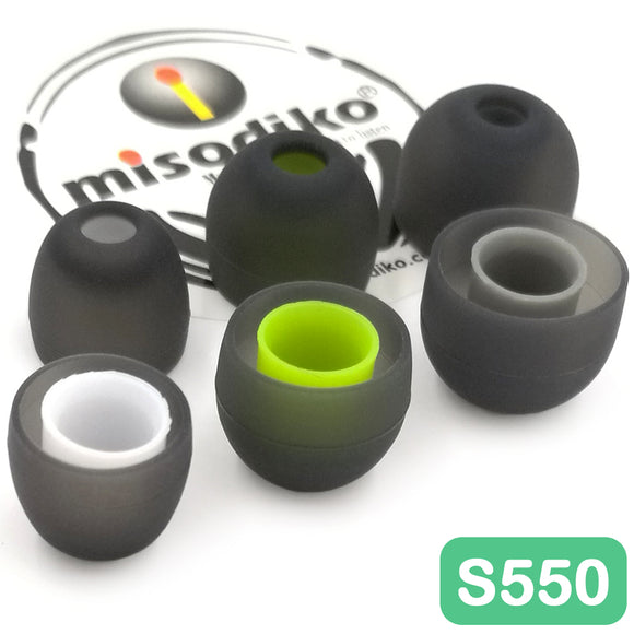 misodiko S550 Silicone Earbuds Tips - for Jaybird X4 X3 X2, BlueBuds X, Freedom/ 1MORE E1001 Triple Driver, E1010/ Photive PH-BTE50/ Plantronics Backbeat GO 3/ LG HBS-760/ QCY QY7, QY8/ Creative Outlier ONE- Replacement Earphones Eartips (3-Pairs)