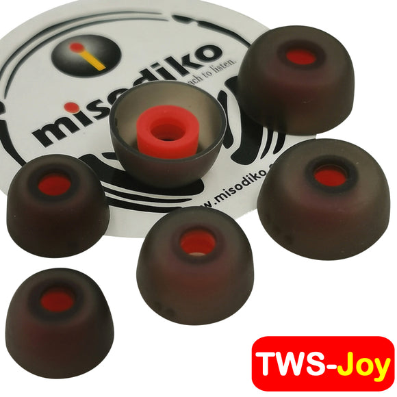 misodiko TWS-Joy Silicone Earbuds Tips for True Wireless Bluetooth Earbuds - Jabra Elite 75t, Elite 65t, Active 65t, Elite Sport, Evolve 65t/ Creative Outlier Air, Outlier Gold/ Anker Soundcore Liberty- Replacement Earphoes Eartips (3-Pairs)