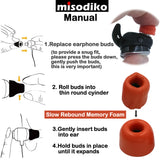 misodiko TWS-Lite True Wireless Earbuds Tips for Sony WF-1000XM3 SP700N, WI-1000XM2 1000X H700/ 1MORE Stylish E1026BT-I/ Jaybird Run/ Beats Powerbeats Pro/ 3/ 2/ 1, BeatsX, urBeats/ BeoPlay E8 - Replacement Memory Foam Ear Tips Eartips (3-pairs)
