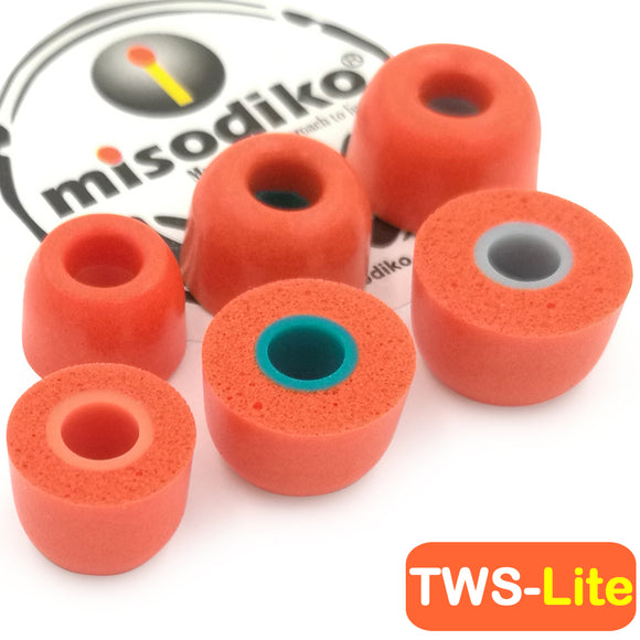 misodiko TWS-Lite True Wireless Earbuds Tips for B&O Play Beoplay E8 H3 H4 H5 E4 E6/ Sony WF-SP700N WF-1000X/ Jaybird Run, X4, X3, X2, BlueBuds X, Freedom 2 F5 Sprint/ KZ AS10 ZS10 ZST ZSN/ Skullcandy - Replacement Memory Foam Ear Tips Eartips (3-pairs)