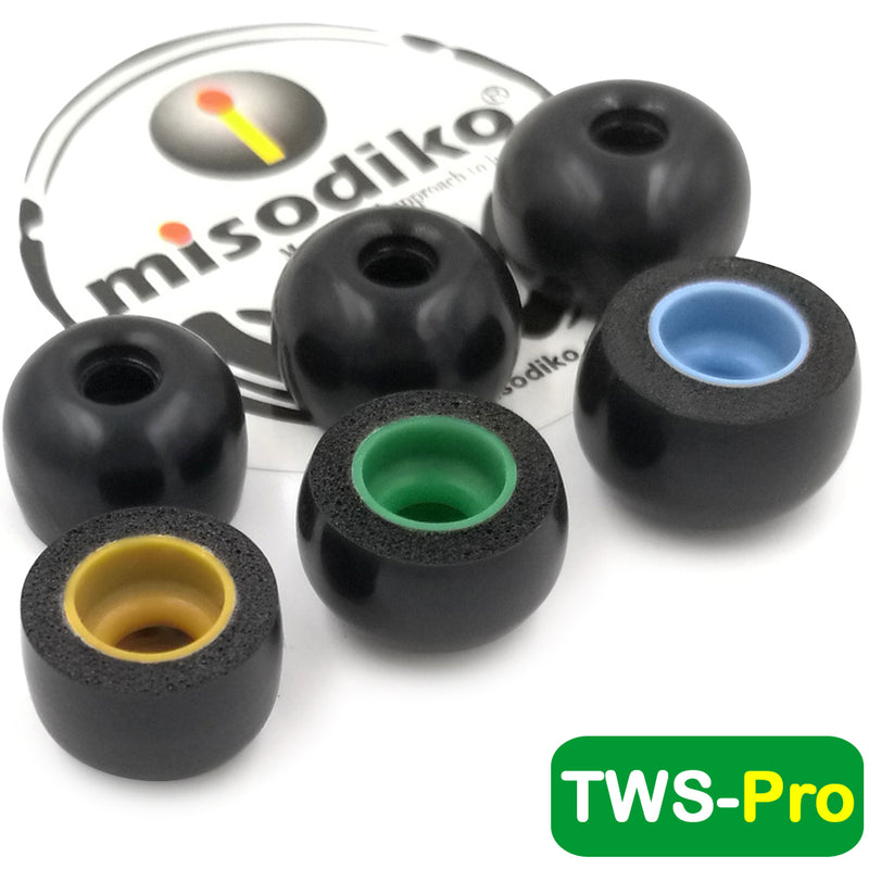 misodiko TWS-Pro Earbuds Tips for Jabra Elite 75t, Elite 65t, Active 65t, Elite Sport, Evolve 65t/ Samsung Galaxy Buds, Gear IconX/ Momentum True Wireless/ Creative Outlier Air, Outlier Gold/ Bragi Dash Pro, Replacement Memory Foam Eartips (3-pairs)