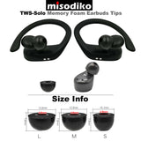 misodiko TWS-Solo Earbuds Tips for True Wireless Bluetooth Earbuds - Beats Powerbeats Pro/ Sony WF-1000XM3, WF-SP700N, WF-1000X/ Jaybird Run, X4, X3, X2, BlueBuds X, Freedom 2 F5 Sprint  - Replacement Memory Foam Ear Tips Eartips (3-pairs)
