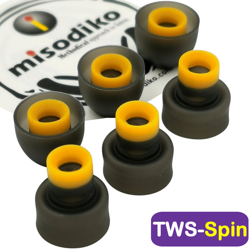 misodiko TWS-Spin Silicone Earbuds Tips compatible with Sony WF-1000XM3 SP800N SP700N SP900 XB700N H800 WI-1000XM2 1000X H700, 1MORE Stylish E1026BT-I, Beats Powerbeats Pro/ 3/ 2/ 1, BeatsX, urBeats, BeoPlay E8 Earphones