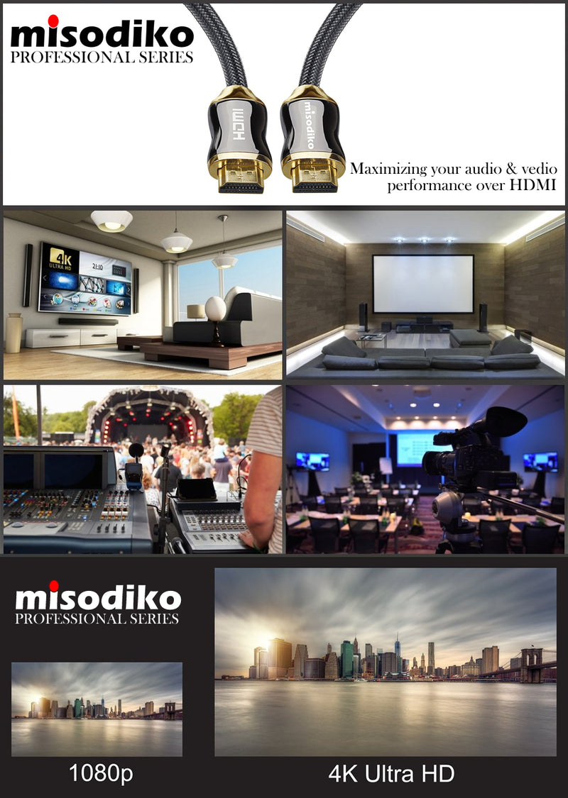 misodiko Premium High Speed HDMI 2.0 Cable for New 4k Ultra HD Televisions - Professional Series