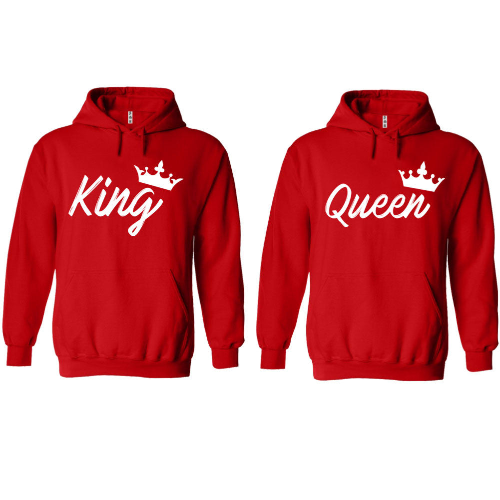 4133c78353e Handwrite King and Queen Red Hoodie