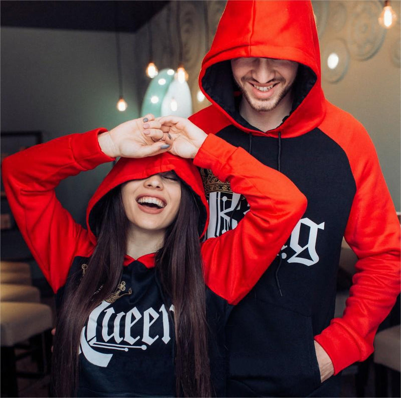 85695cd12e Royal King and Queen Two-tone Black / Red Raglan Hoodie