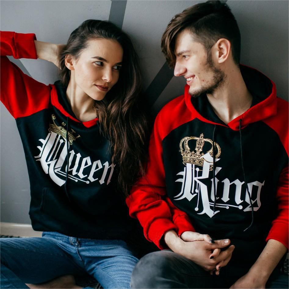 c1179de8173 Royal King and Queen Two-tone Black / Red Raglan Hoodie