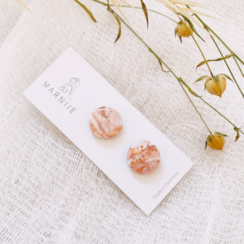 Blush Pink Marble - Wanderer Studs 14mm