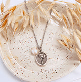 Daisy Coin Charm & Pearl - Charm Necklace - Silver