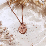 Daisy Coin Charm & Pearl - Charm Necklace - Rose Gold
