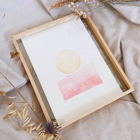 Full Moon / Red Hills - LIMITED EDITION Two Sisters Water colour - Sunset collaboration - A4