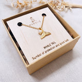 Whale Tail - Charm Necklace - Gold