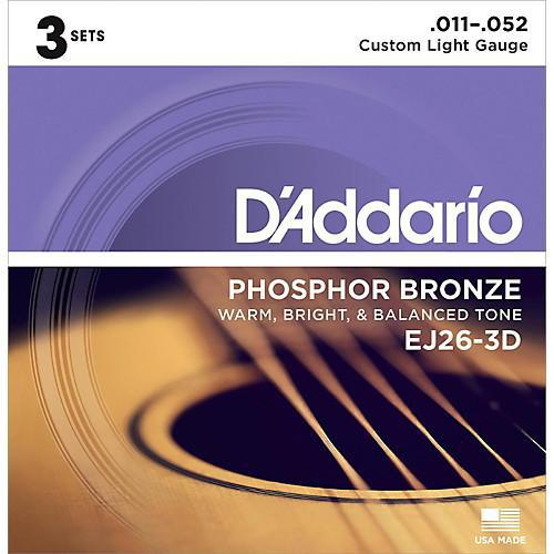 D'Addario EJ26 Phosphor Bronze Custom Light 11-52 3 Pack