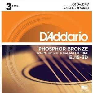 D'Addario EJ15 Phosphor Bronze Extra Light 10-47 3 Pack