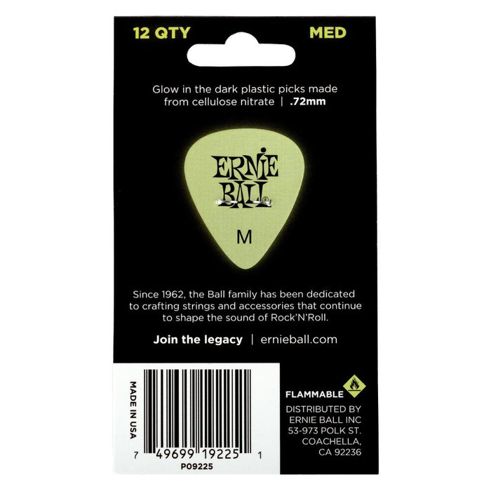 Ernie Ball Super Glow Cellulose Acetate Picks- 12 Pack Assorted Sizes